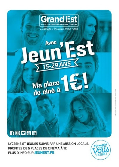 1 EURO LA PLACE DANS VOTRE CINEMA AVEC LA CARTE JEUN'EST