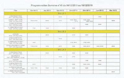 PROGRAMME ACCÈS SALLES DU 4 au 10 Décembre