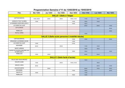 PROGRAMME ACCÈS SALLES DU 13 au 19 mars