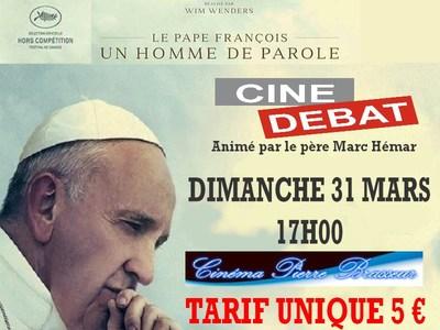 CINÉ-DÉBAT : LE PAPE François LE 31 MARS A 17 HEURES