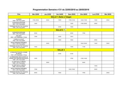 PROGRAMME ACCÈS SALLES DU 22 AU 28 MAI
